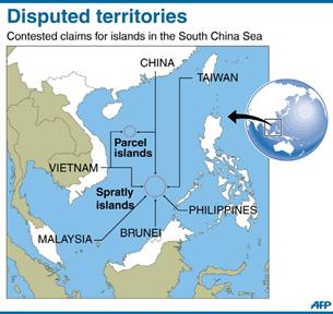 Bản đồ Biển Đông và vùng lưỡi bò mà Trung Quốc tuyên bố chủ quyền. AFP PHOTO.