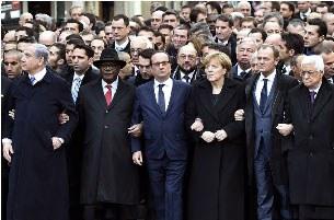 Khoảng 40 lãnh đạo thế giới và hơn 1 triệu người đã đổ xuống các đường phố ở Paris để tham gia cuộc tuần hành quy mô lớn nhằm bày tỏ đoàn kết sau khi 17 người thiệt mạng trong loạt tấn công khủng bố trong 3 ngày liên tiếp, vốn làm rúng động thủ đô của Phá