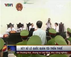 Tòa án Nhân dân Thành phố Hà Nội mở phiên xét xử LS Lê Quốc Quân hôm 2 tháng 10 năm 2013 với tội danh: trốn thuế. Screen capture from VTV.