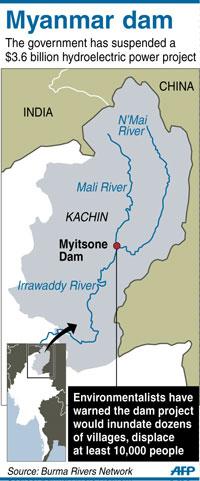 Bản đồ vị trí xây Đập thủy điện Myitsone trên sông Irrawaddy của Miến Điện. AFP PHOTO.