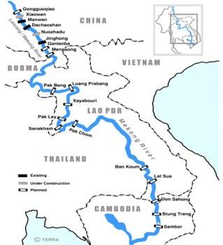 Bản đồ sông Mekong và các đập thủy điện