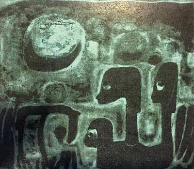 Trăng, tranh sơn dầu, phụ bản 1 trong tiểu thuyết Gió Mùa, Sông Mã xuất bản 1965 [Label: Wason PL 4389, N473, G4]