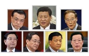 Từ trái trên xuống: ông Lý Khắc Cường - ông Tập Cận Bình - ông Vương Kỳ Sơn - ông Trương Đức Giang - ông Du Chính Thành - ông Lưu Vân Sơn - và ông Trương Cao Lệ
