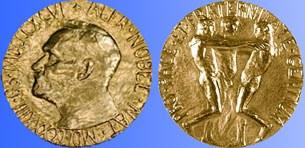 Huy chương Nobel hoà bình (mặt trước và mặt sau).
