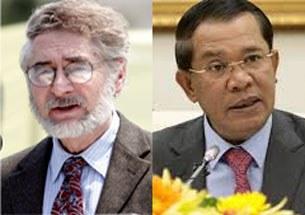Luật sư Morton Sklar, Giám đốc điều hành của Tổ chức Thế giới về Nhân quyền - Hoa Kỳ (phải) và thủ tướng Hun Sen của Cambodia (trái)
