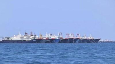 Khoảng 220 tàu cá Trung Quốc neo đậu ở khu vực Đá Ba Đầu trong tháng 3/2021 nơi Việt Nam và Philippines cùng tuyên bố chủ quyền.