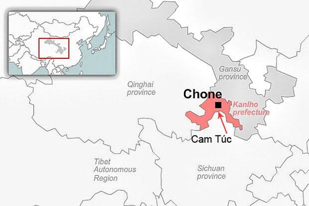 Bản đồ cho thấy vị trí của quận Cam Túc, Tây Tạng.