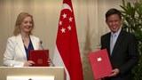 Bộ trưởng thương mại Anh Liz Truss và Bộ trưởng thương mại và công nghiệp Singapore Chan Chun Sing, tại buổi ký kết thỏa thuận thương mại tự do hôm 10/12/2020 ở Singapore.