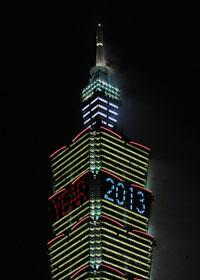 Đêm giao thừa 31-12-2012 tại Taipei - Đài Loan. AFP photo.