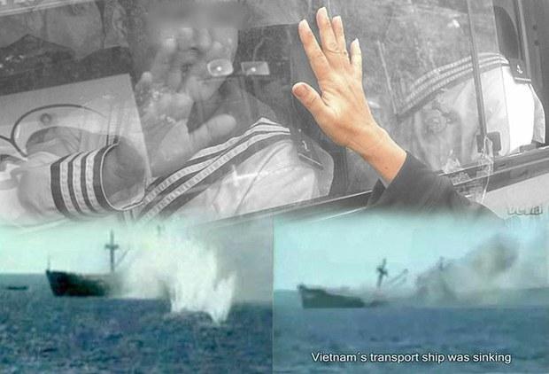 Tàu Trung Quốc bắn vào tàu vận tải của Việt Nam tại trận chiến Gạc Ma hôm 14/3/1988
