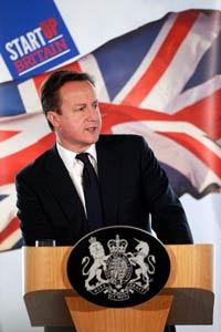 Thủ tướng Anh David Cameron nói về trách nhiệm của Chủ nghĩa Tư bản và nền kinh tế tại New Zealand House ở London ngày 19 tháng 1 năm 2012. AFP photo