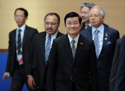 Chủ tịch nước VN Trương Tấn Sang (thứ 2 từ phải) tại Diễn đàn APEC, thành phố Vladivostok, Nga hôm 09/9/2012. AFP photo