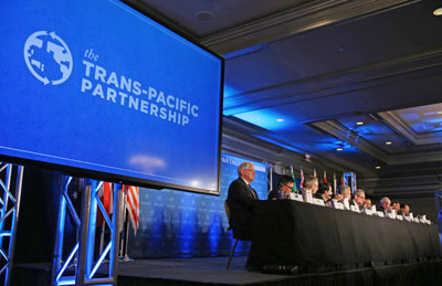 Đại diện 12 nước tham gia đàm phán TPP tại Atlanta, Mỹ ngày 5/10/2015. AFP