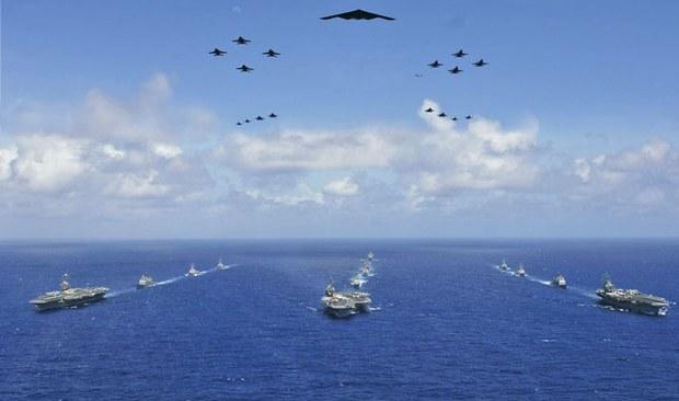 Ảnh minh họa Hàng không mẫu hạm Hoa Kỳ thao diễn trên biển Thái Bình dương