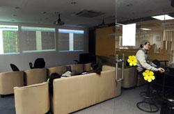Phòng giao dịch chứng khoán Sacombank ảm đạm hôm 20/12/2012. AFP photo