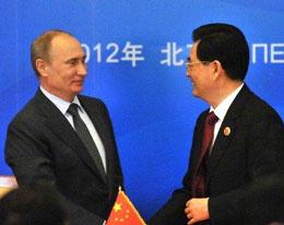 Hai nhà lãnh Nga và Trung Quốc tổng thống Putin và chủ tịch Hồ Cẩm Đào. AFP