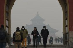 Ảnh chụp ô nhiễm không khí tại Bắc Kinh hôm 24/02/2014. AFP PHOTO.