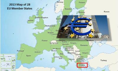 Hy Lạp trên bản đồ khối EURO