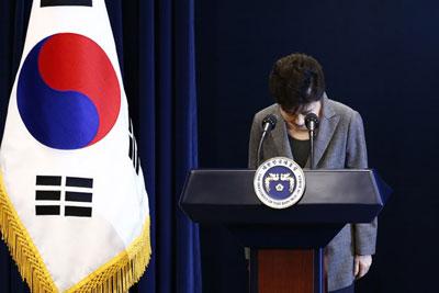 Bà Park Geun-hye cúi đầu xin lỗi người dân tại Nhà Xanh hôm 29/11/2016.
