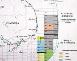 Chín lô  dầu khí mà Trung Quốc quyết định mở ra  thăm dò nằm trong thềm lục địa của Việt Nam. Petrovn