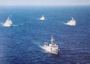 Đoàn tàu hải giam của TQ trong đội hình đi tuần khu vực Trường Sa.