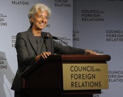 Bà Christine Lagarde, Giám đốc IMF nói chuyện với Hội đồng Quan hệ đối ngoại hôm 26/7/2011 về tình trạng kinh tế thế giới. AFP photo