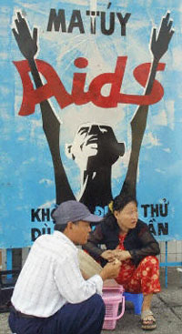 Poster cổ động chống HIV/AIDS ở TPHCM. Photo AFP