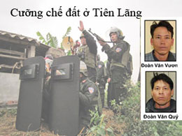 Vụ cưỡng chế đất của gia đình ông Đoàn Văn Vươn ở Tiên Lãng. Files photos