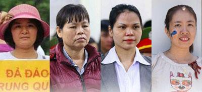 Từ trái qua: bà Trần Thi Nga, bà Cấn Thị Thêu, cô Nguyễn Thị Minh Thúy, blogger mẹ Nấm.