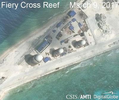 Các cơ sở Trung Quốc xây trên bãi Chữ Thập do Trung tâm Chiến lược và Nghiên cứu Quốc tế (CSIS) tại Hoa Kỳ chụp qua vệ tinh hôm 9/3/2017.