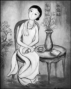 Nữ sĩ Sương Nguyệt Ánh. Tranh của họa sĩ Bé Ký. Photo courtesy of Phụ nữ Online.
