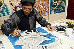 Ông Lê Đình Nghiên, nghệ nhân cuối cùng của dòng tranh cổ Hàng Trống.