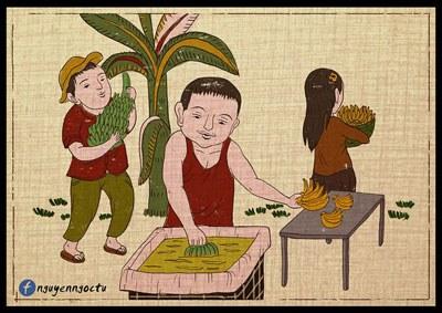 Tranh biếm nhuộm chuối của Nguyễn Ngọc Tú.