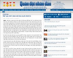 """Bài viết trên tờ QĐND hôm 7/7/2013 có tên """"Một góc nhìn phản văn hóa và phi chính trị"""". Screen capture."""