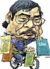 Nhà thơ Nguyễn Duy qua ngòi bút ký họa.