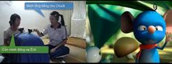 """Nhóm Colory đang lồng tiếng cho phim hoạt hình """"Dưới Bóng Cây"""". Hình chụp từ youtube."""