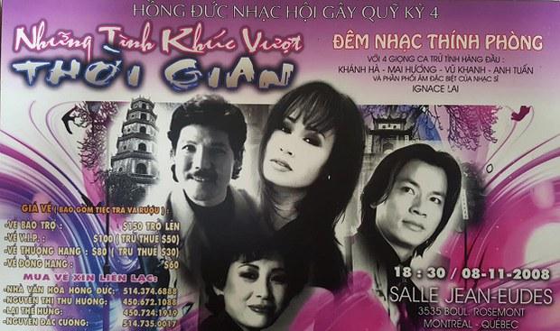Poster đêm diễn cuối cùng của Ca sĩ Mai Hương ở Montreal, Canada hồi năm 2008.