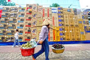 Người bán hàng rong trên đường phố Hà nội. AFP