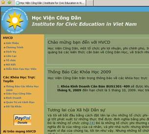 Hình chụp trang web của Học Viện Công Dân