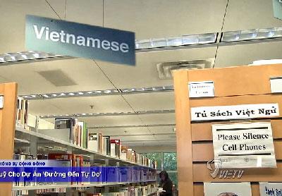 Khu vực dành cho sách tiếng Việt ở thư viện Thomas Jefferson ở thành phố Falls Church