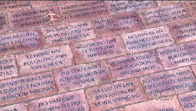 Những viên gạch có khắc tên người mua, lát trên lối đi chính dẫn vào Thomas Jefferson Library