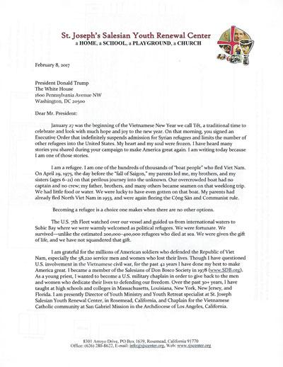 Mặt trước bức thư linh mục Nguyễn Hoài Chương gởi tổng thống Trump.