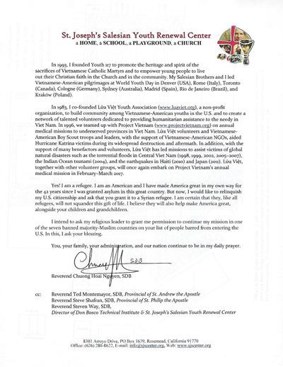 Mặt sau bức thư linh mục Nguyễn Hoài Chương gởi tổng thống Trump.