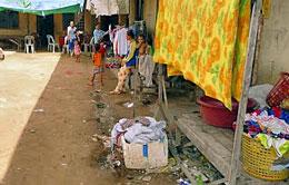 Cảnh một khu phố người Việt mướn để tạm cư sinh sống ở Siem Reap (Web Trường Tín Nhân Quốc Tế - Rhio-school. net)