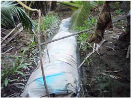 Túi phân giải tạo Biogaz của hộ chị Lệ - Thành An. Courtesy of HOPE and AVNES