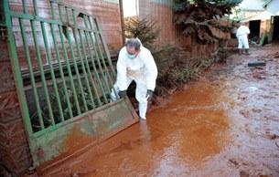 Một công nhân cứu hộ trong một khu vườn ở Devecser, cách khoảng 150 km về phía tây Budapest ngày 11 tháng 10 năm 2010.