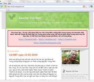 Trang mạng bauxitevietnam tại tên miền boxitvn.blogspot.com