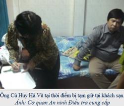 Hình Cù Huy Hà Vũ tại thời điểm bị tạm giữ tại khách sạn do Cơ quan An ninh Điều tra cung cấp. Photo: RFA