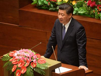 Chủ tịch Trung Quốc Tập Cận Bình phát biểu trước Quốc hội Việt Nam ở Hà Nội vào sáng ngày 6/11/2015. AFP