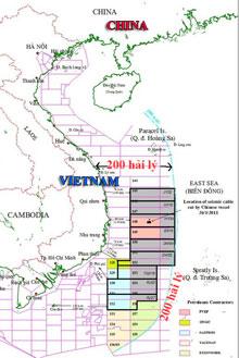 Bản đồ chỉ rõ 9 lô dầu khí mà Tổng Công ty Dầu khí Hải Dương Trung Quốc mở thầu quốc tế hoàn toàn nằm trong vùng đặc quyền kinh tế 200 hải lý và thềm lục địa của Việt Nam.Source PVN